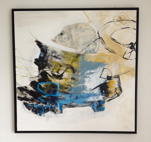 Gemälde Ignition 2,gerahmt, Künstler Peter, 100x100 cm