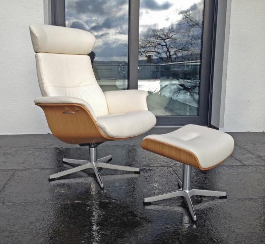 TIMEOUT XL Sessel + Hocker, Sitzschale Eiche Hell / Bezug Fantasy SNOW-WHITE 2514-00, Rücken + 5cm, X-Fuss Alu hoch