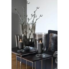 ROYAL, Windlicht,grau,transparent,m.Fuss, 30x20cm