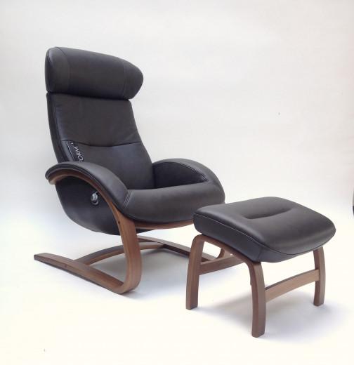 FLOW Freischwinger-Sessel + Hocker, Walnuss/BOLZANO Lava, Rücken hoch