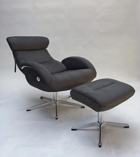 FLOW Relaxsessel + Hocker, Bezug NUBUCK dark-grey, X-Fuss Alu