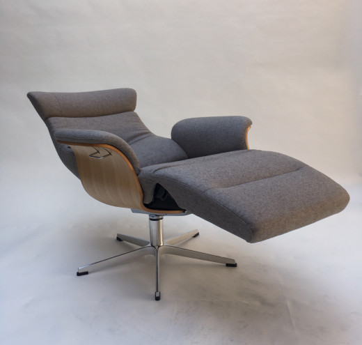 TIMEOUT XL Sessel m. Fußstütze, EI-Hell / SHEFFORD mole, X-Fuss Alu +3,5cm