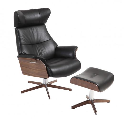 AIR Relaxsessel + Hocker Walnuss / Leder ZERO 2534-89 Black, Rücken +5cm, X-Fuss Alu