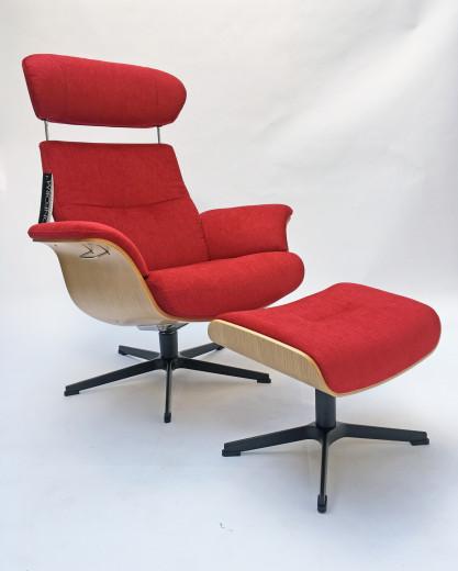 TIMEOUT Sessel + Hocker EI-HELL / EVITA strawberry,  X-Fuss Alu-schwarz