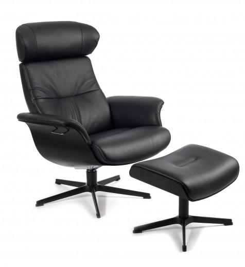 TIMEOUT XL Sessel + Hocker EICHE SW / FANTASY BLACK, X-Fuss Alu schwarz +3,5cm
