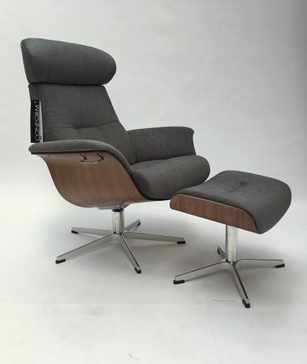 TIMEOUT Sessel  + Hocker EI-HELL / Bezug EVITA concrete, X-Fuss Alu +3,5cm