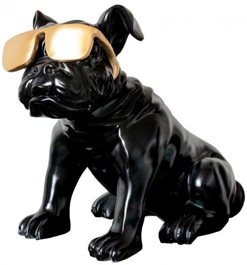 Bulldogge m. Sonnenbrille, Skulptur 40x23x34cm