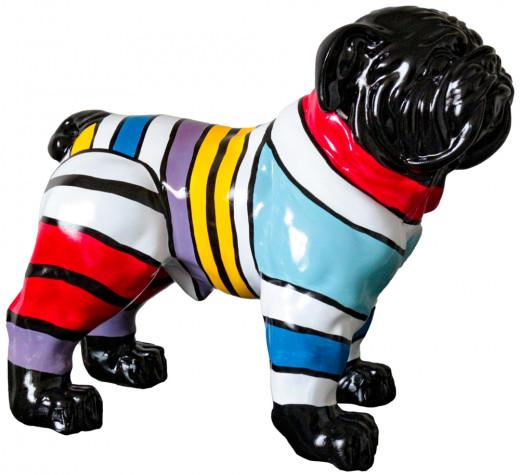 Bulldogge m. Pulli stehend, Skulptur 35x23x35 cm