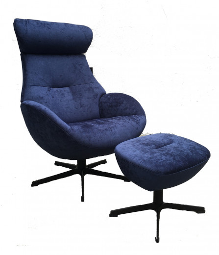 GLOBE Sessel + Hocker, Bezug AZURE Dark Blue