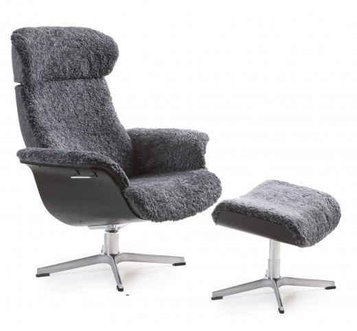 TIMEOUT XL Sessel + Hocker EI-SW / Schaffell CHARCOAL
