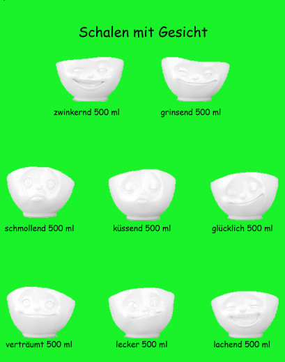 Müsli-Schale weiss, mit Gesicht, 500ml