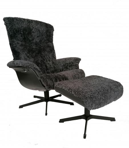 PRIME Sessel + Hocker, EI-Schwarz/ Schaffell Charcoal, X-Fuss Alu schwarz
