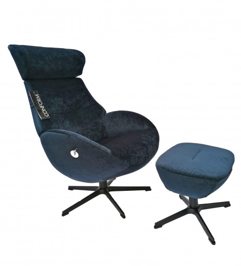 GLOBE-Sessel + Hocker, Bezug EROS Midnight Blue