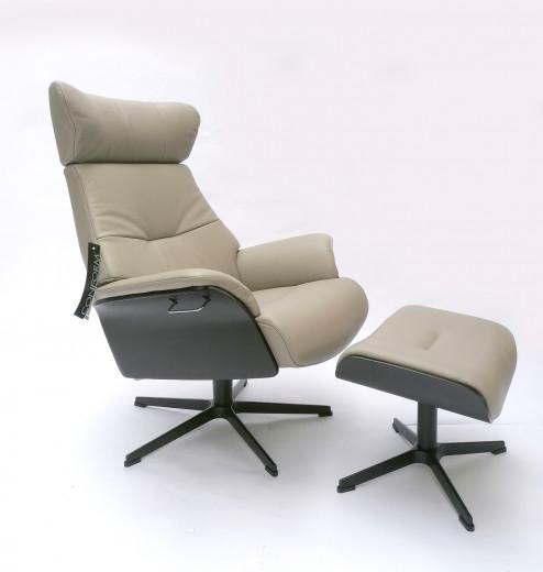 AIR Sessel + Hocker Eiche sw / FANTASY Cement