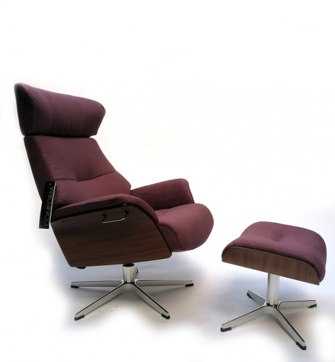 AIR Sessel + Hocker Walnuss / EVITA Lavendel