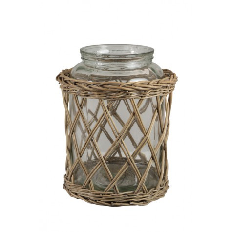 COROA, Windlicht Reed-Glas, 23x36cm